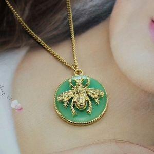NEW Brand Bee Round Drop Glaze Green Necklace